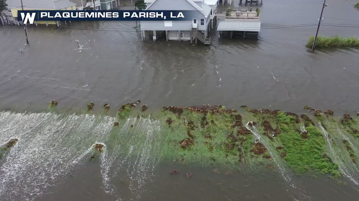 Storm surge proves to be too much for a levee in Plaquemines Parish, LA. Field Correspondent Brandon Clement is tracking the water LIVE on @WeatherNation  #Barry