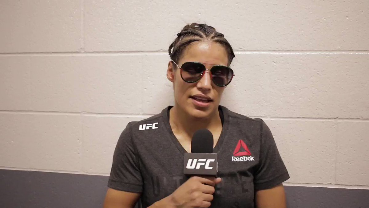 """""""I think it took me a round or two to wake up and realize, 'Hey, girl. You're in a fist fight.""""  @VenezuelanVixen returned to the Octagon for the first time in more than two years and was able to get the win. #UFCSacramento"""