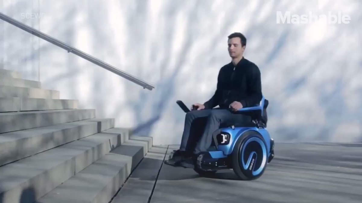 Students in Switzerland have developed a prototype called Scewo, a  wheelchair that can climb stairs by incorporating three components of  traction.  By @mashable   Follow @mashable @GaneshAtkale   #digital #tech #technology #machine #science