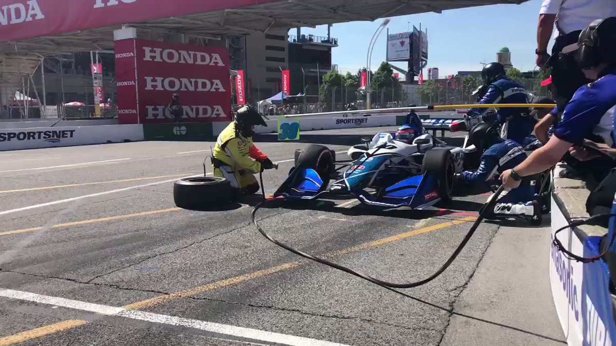 .@TakumaSatoRacer cycled up to lead a lap before he made his first stop. Back on track in 10th but multiple pit strategies ahead. 🏎 @panasonic @HondaRacing_HPD