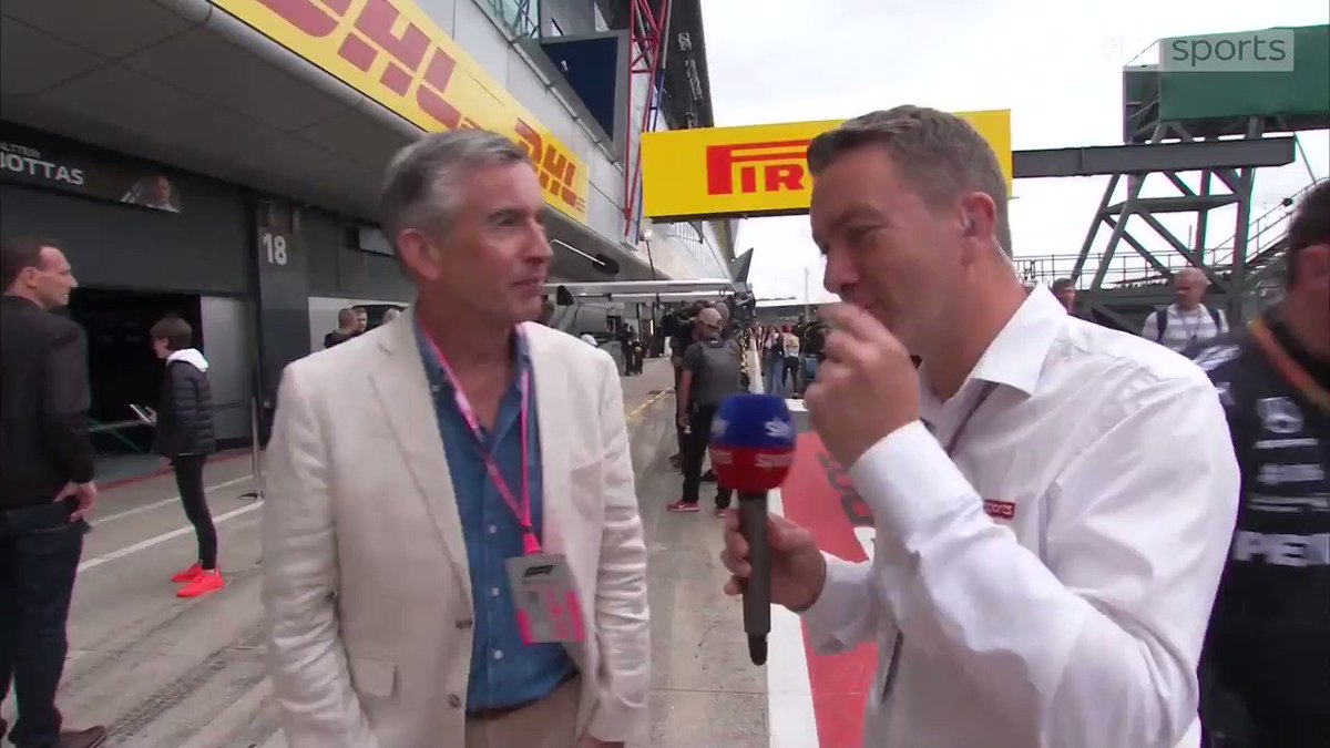 "Partridge in a Pit Lane  Craig Slater couldn't help himself when speaking to Steve Coogan before the British Grand Prix 😂  ""Ah dreadful!"""