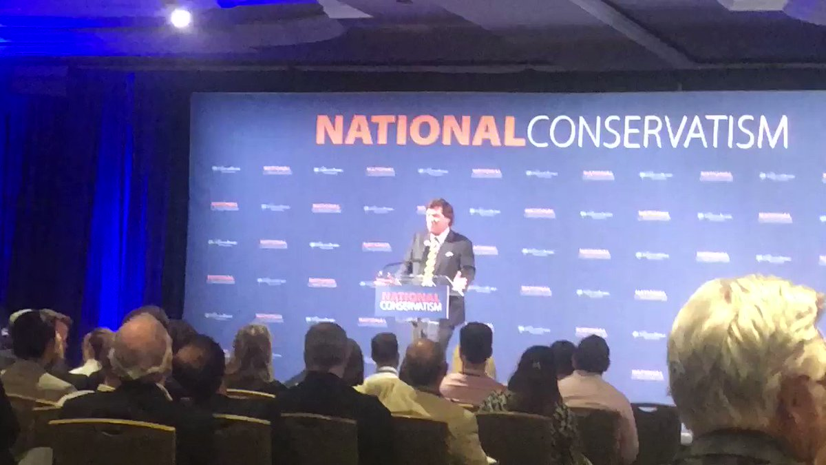 Tucker Carlson was just asked about how he feels about speaking at a conference with warmonger John Bolton. #nationalconservatism Here's his response: