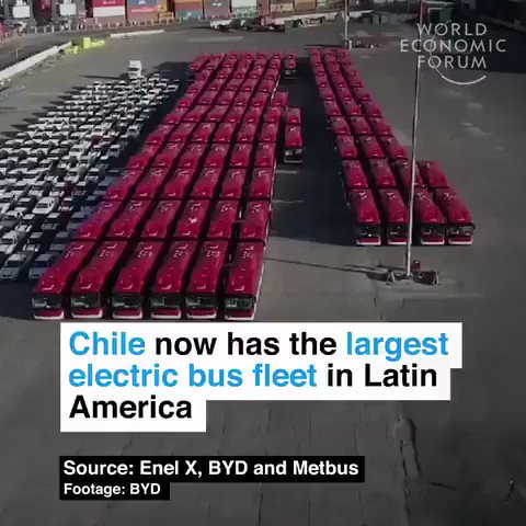#ArchitectingTheFuture  #Chile now has the largest electric bus fleet in Latin America. Going electric to address air pollution and combat climate change.  We all deserve clean air. #Climate #energy #EV #tech #SDGs #Sustainability 🎥  cc: @GTenten @domhalps