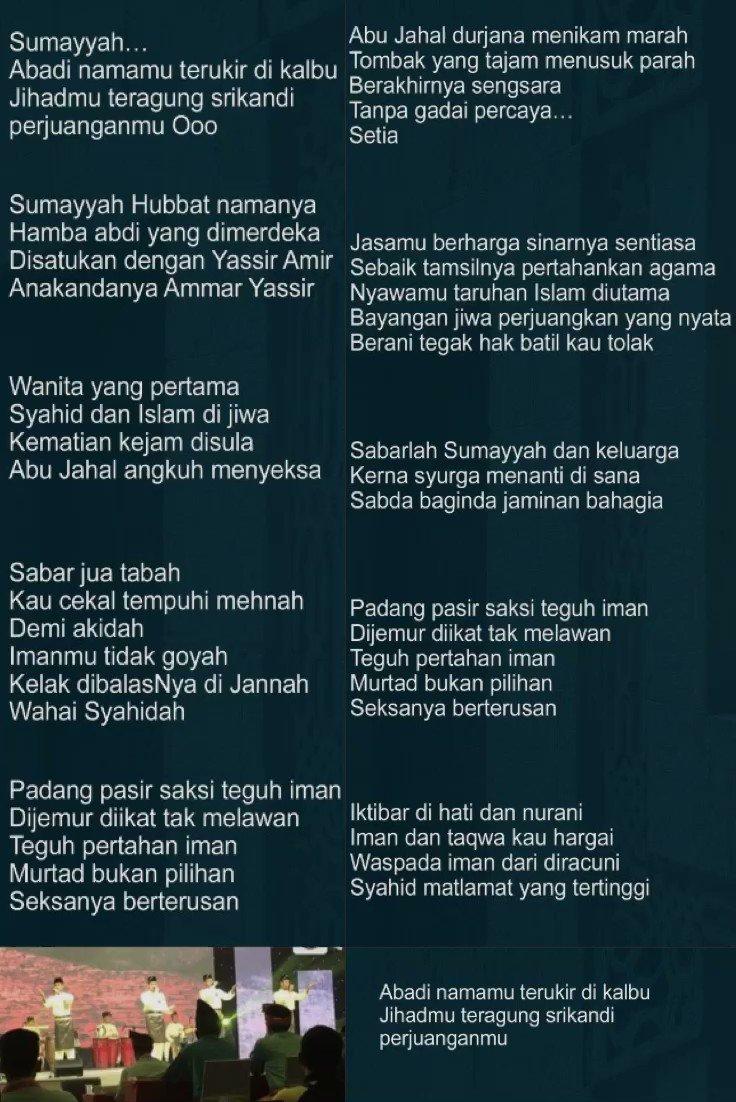 Soutul Faizin Official On Twitter Lirik Sumayyah Pelantun Soutulfaizin Negeri Perak Fnss2019 Fnss19 Fnk19 Soutulfaizin