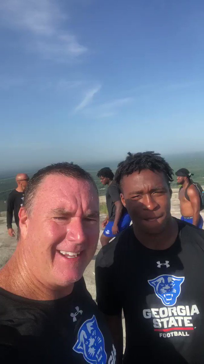 @GeorgiaStateFB tackled @StoneMtnPark today for the team conditioning run. Always an exciting time taking it to the top with the guys! Congrats to @coach_stepp for making us all look bad! #witness2020 #tothetop #46days – at Stone Mountain Summit