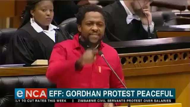 "Dr Ndlozi in parliament setting the record straight to ANC and DA ""there's nothing you will do or say, you won't tell us how to conduct our revolution"""