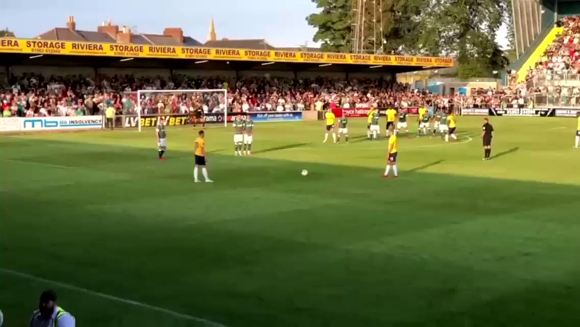 Torquay played Plymouth in a pre-season friendly last night and scored a free kick that is the definition of #TopBins.