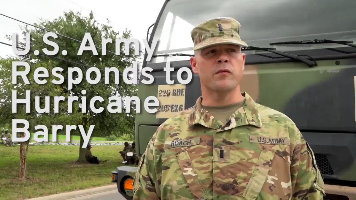 Supporting the community.   Soldiers with 2225th Multi-Role Bridge Company, @LANationalGuard placed #sandbags along a #levee last week in Port Sulphur, #Louisiana in preparations for the #flashfloods caused by #TropicalStorm #Barry.  Video by #USArmy  #ArmyResponse