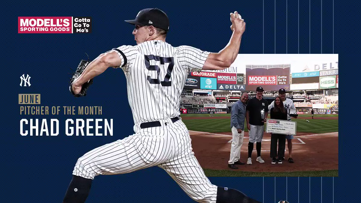 Congratulations to Chad Green on being named the @Modells Pitcher of the Month for June.