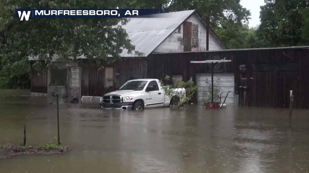 🌀 It appears #Barry will go down as the wettest tropical system in #Arkansas' state history!  🌧️ A report of 14.58 inches of rain fell in the city of #Murfreesboro.  When confirmed, it will replace the state record of 13.91 inches from Tropical Storm Allison in 1989. #ARwx