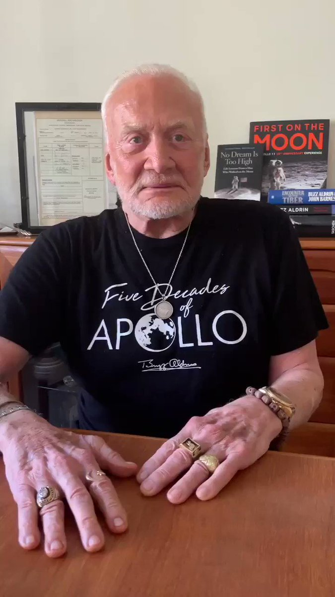 50 years ago today, Neil Armstrong, Mike Collins and I launched into space on a mission of enormous importance. God bless the 400,000 Americans who helped us get to the moon and back. Together, we Americans can do anything! Never forget July 16, 1969! #Apollo50