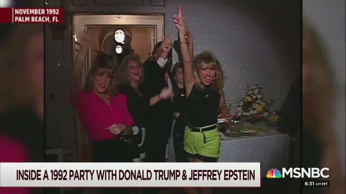 Wow. Trump can be seen getting handsy with women in this footage of him partying with Epstein at Mar-a-Lago.