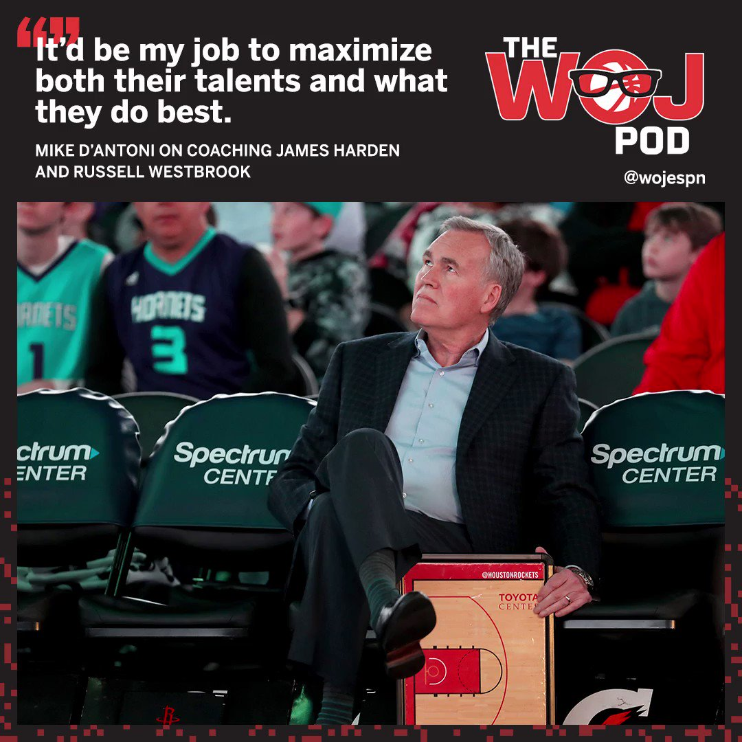 Mike D'Antoni discusses coaching @JHarden13 and @russwest44 on The Woj Pod