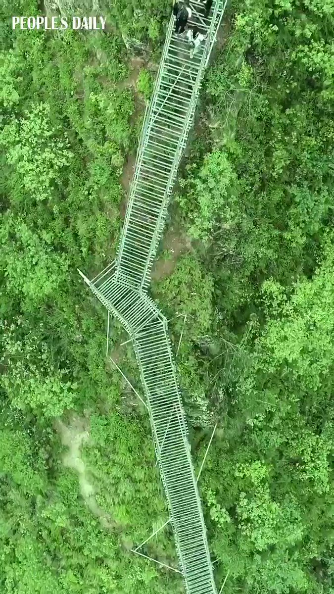 Ladder to heaven! 2556 steps ladder along the cliff built for transportation in Liangshan, SW China's Sichuan Province