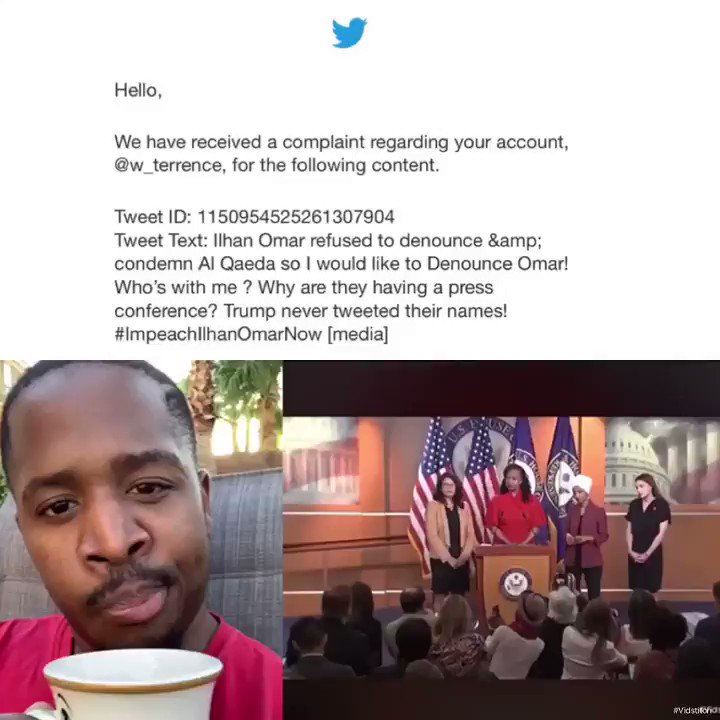 My account was reported because I spoke out against Ilhan Omar for not denouncing Al Qaeda! People are trying to shut me down! They want this video off the internet! * RT if you don't think I said anything wrong or let me know if I did #ImpeachIlhahOmarASAP
