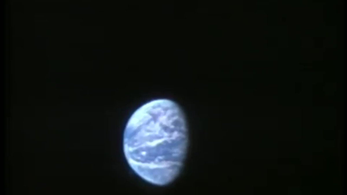 19:33 The astronauts have just telecast a view of the Earth (in color!) from a distance of 128,000 nautical miles. #Apollo50th
