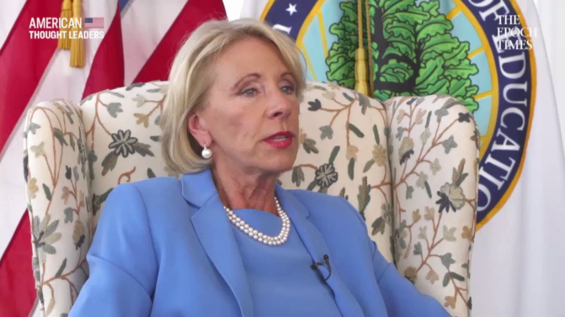 🔴PREMIERE AT 9pm ET: youtu.be/Erlt_xtF1gc We have to acknowledge that there are many adults doing their education while theyre holding full-time jobs, raising families… @BetsyDeVosED explains her approach to #Education on American Thought Leaders🇺🇸 with @Jan Jekielek