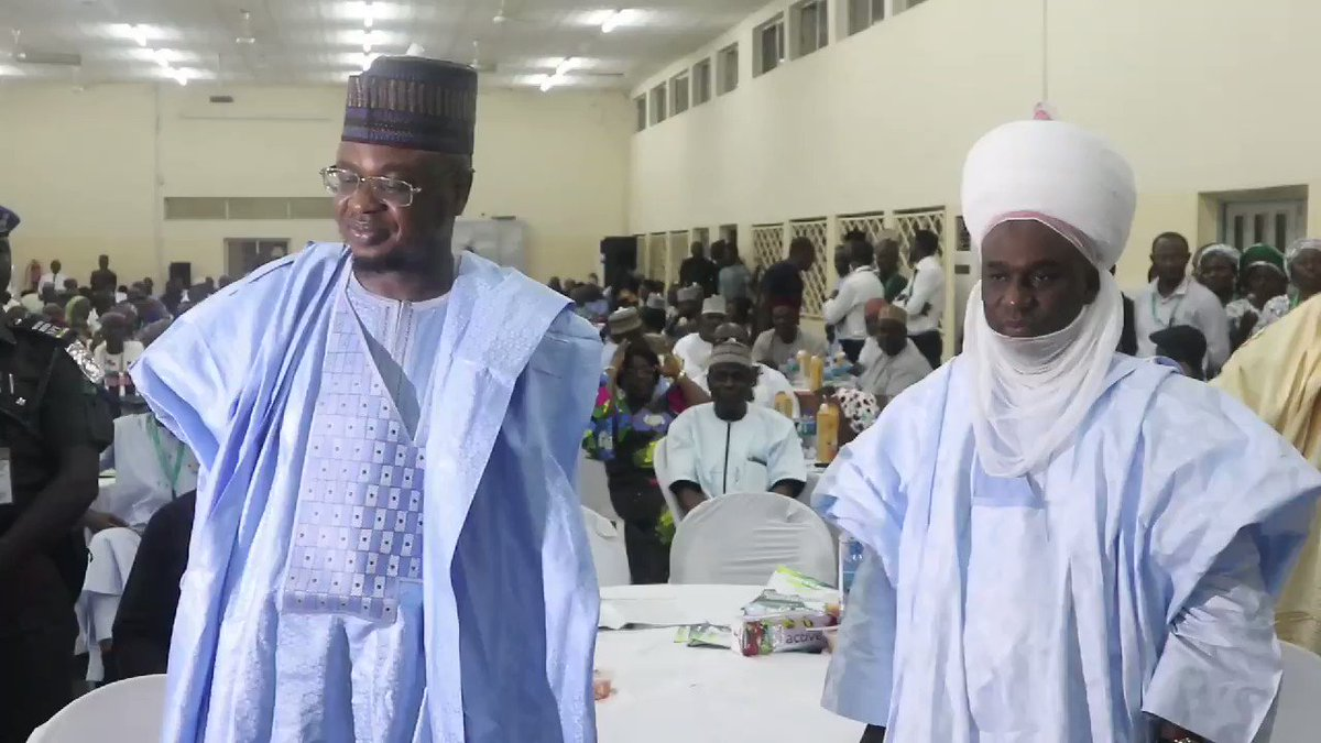 The Chief Information Technology Officer of Nigeria, @DrIsaPantami, with the Emir of Gombe, HRH Alh Abubakar Shehu-Abubakar during the @NigeriaComputer Presidents Special Recognition and Awards part of activities of #NCSGombe2019 held in Gombe State University, Gombe.