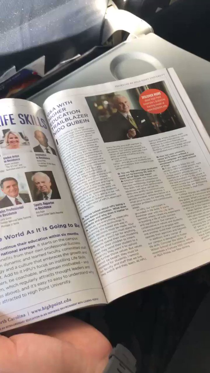 ✈️Taking to the skies soon? Peep 👀 This article on HPU & President @NidoQubein in the July issue of @AmericanAir's in-flight magazine! In the feature, Dr. Qubein discusses HPU's life skills, transformation and values. #HPU365