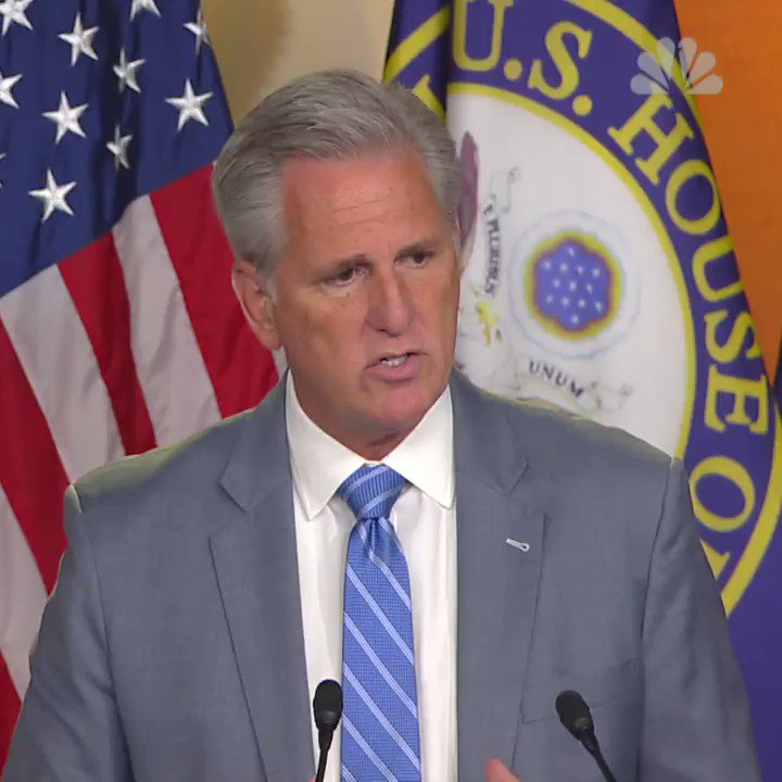 """House Minority Leader McCarthy on """"send her back"""" chant: """"The president moved on with his speech.""""  Reporter: Does he have a responsibility to cut this out?  McCarthy: """"[The president] did not join in ... You want to try to hold him accountable for something in a big audience?"""""""