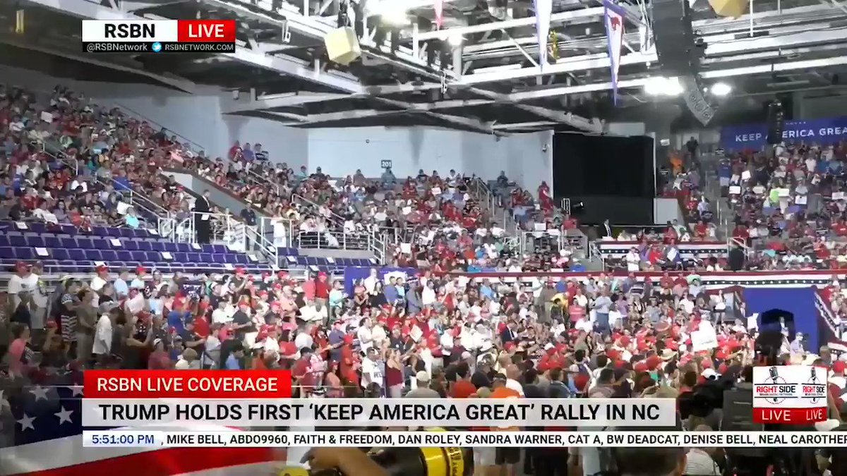 "LARA TRUMP before Trump took the stage at his North Carolina rally last night:  ""If you don't love our country, the president said it: You can leave.""  [Crowd cheers]"