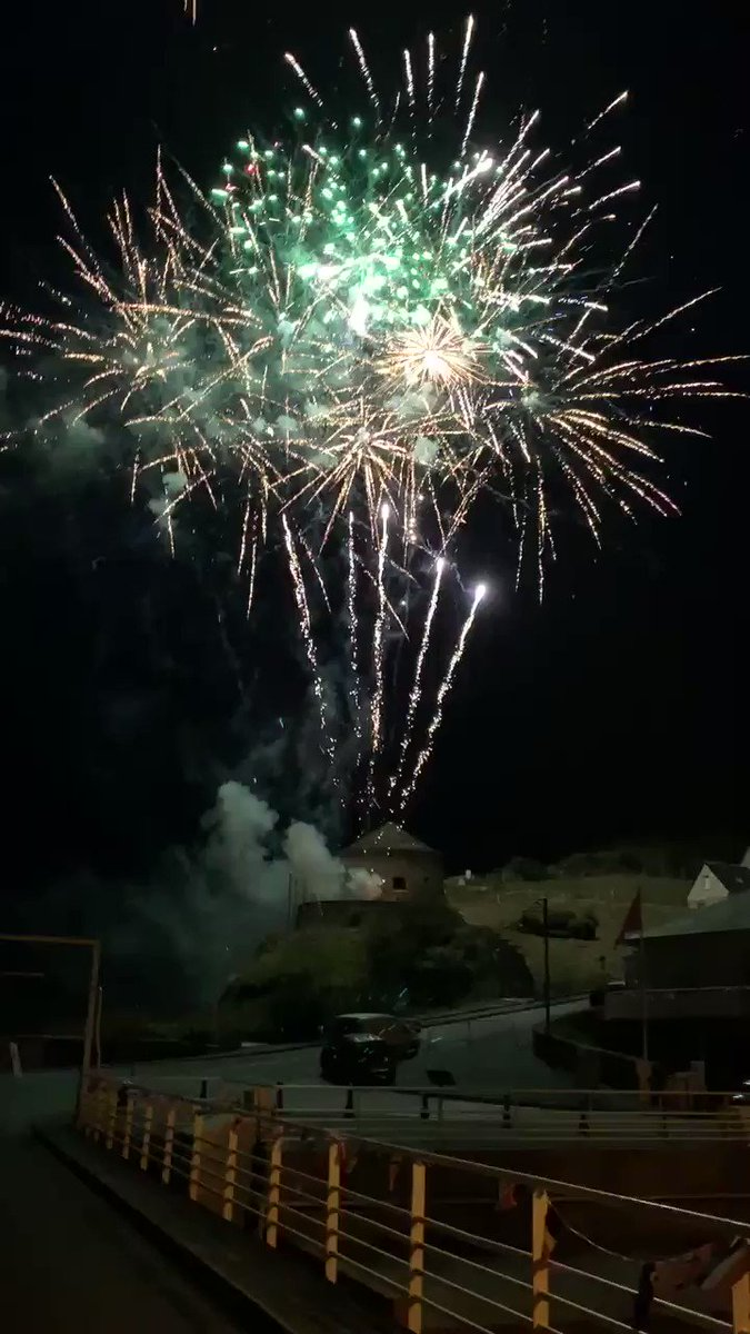 Very cool thing in Normandy, France. Every Friday night this summer they have a big fireworks display to give thanks to those who stormed the beaches back in 1944. #dday75thanniversary   It seems like many French are more grateful for America than some Americans. 🇫🇷🇬🇧🇦🇺🇨🇦🇺🇸