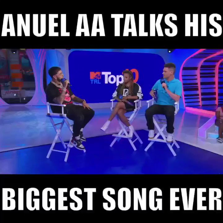 Last week on #TRL @Anuel_2bleA told me about #China and how the smash got its title...gotta love the honest response! @MTV #AnuelAA #JBalvin #KarolG #Ozuna #DaddyYankee