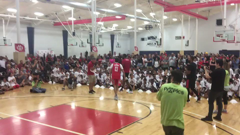 James Harden breaks ankles at his camp. Kids go wild. #Rockets