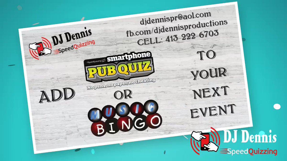 Make your next event memorable! Works for weeknight pub events too! #SpeedQuizzing #PubQuiz #Trivia #PubBingo #413Nightlife @djdennispr