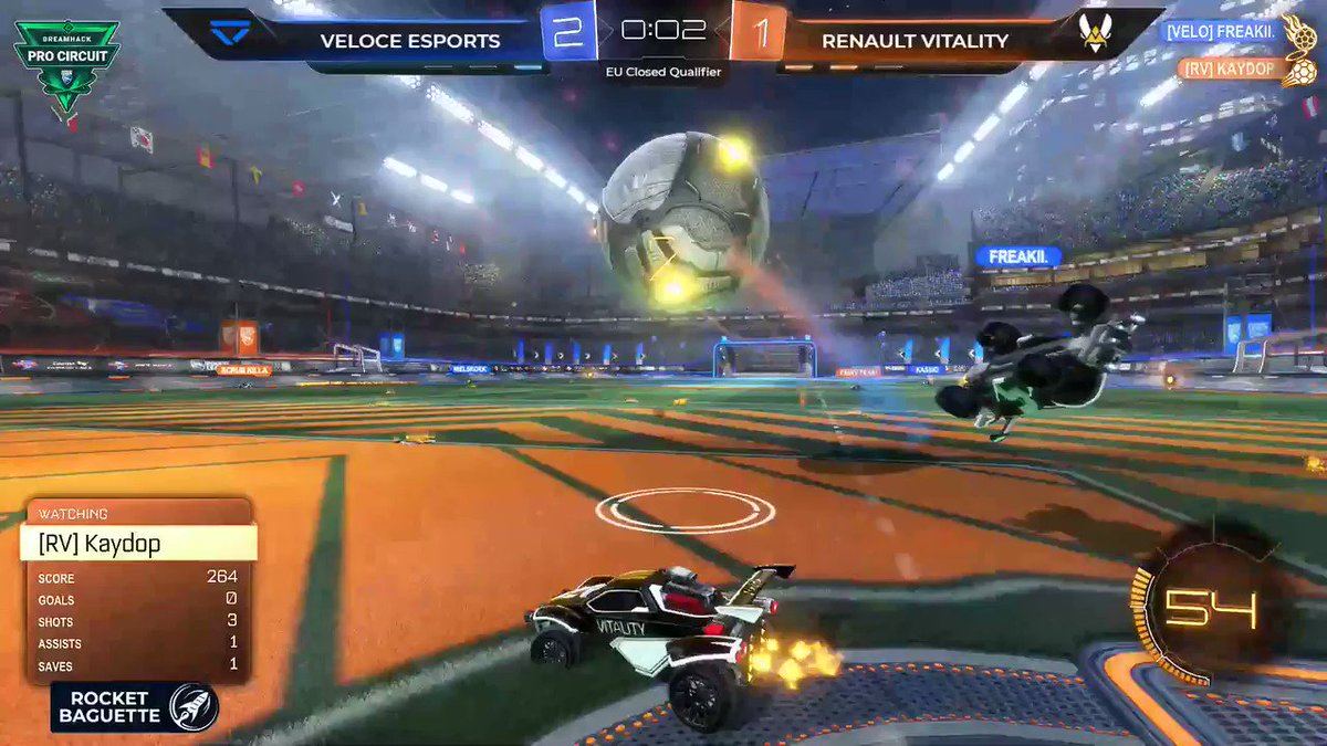It's done! The Renault Sport Team Vitality squad wins 3-1 vs @VeloceEsports  Next match is against @TheBricksRL 👌 For now, you can watch this awesome goal by @Kaydops 😏#RSspirit #VforVictory @RenaultF1Team   ▶ http://twitch.tv/rocketbaguette