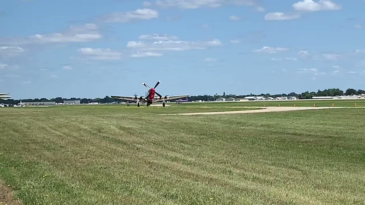 "Sound up!  The Dixie Wing of the commemorative Air Forces P-51D ""Red Nose"" taxis by!  Video: Aaron Haase  #OSH19 #50inOSH #EAA #AirVenture #WeLoveAirshows #airshow360 #airshow #avgeek #aviation #ICAS #instaplane #warbirds"