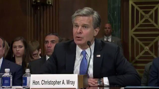"""FBI Director Wray: """"A majority of the domestic terrorism cases we've investigated are motivated by some version of what you might call white supremacist violence."""""""