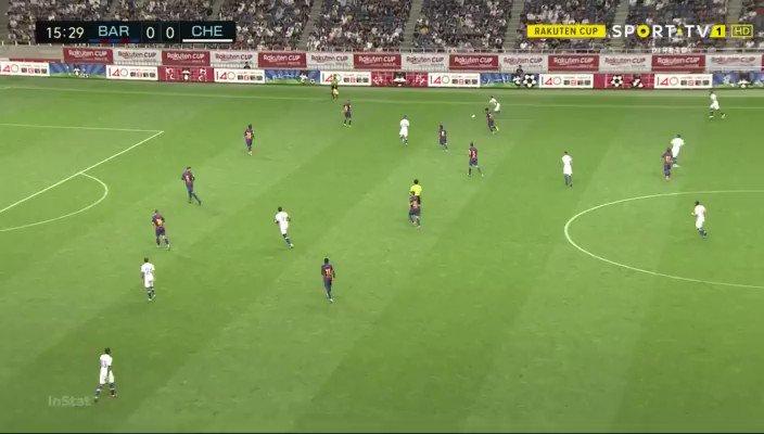 Barcelona - Chelsea: Pedro schiet keihard tegen Tammy Abraham