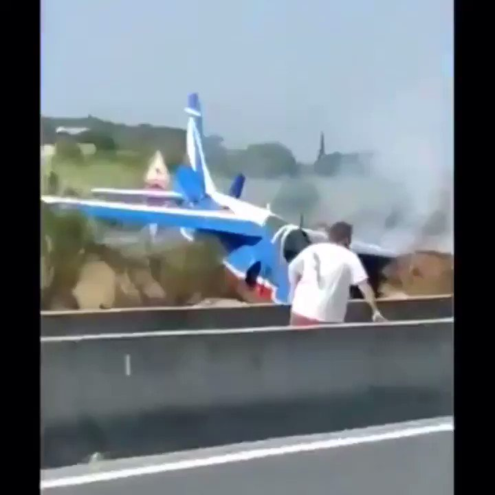 News Update : A French Air Force display jet has crash-landed at Perpignan airport in France. The Dornier Alpha Jet belonging to the Patrouille de France display team overshot the runway and came to rest beside a barrier next to a main road. #France