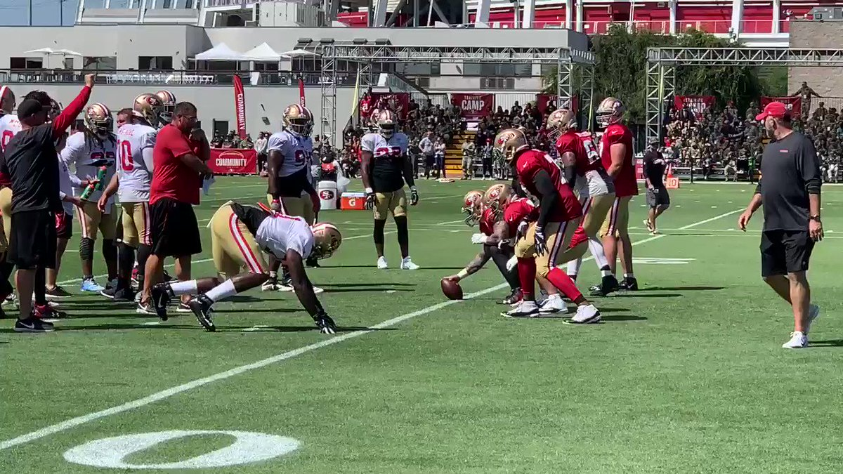 #49ersCamp 1-on-1s: Jamell Garcia-Williams (6-8, 260) with a couple impressive reps against Shon Coleman. #49ers