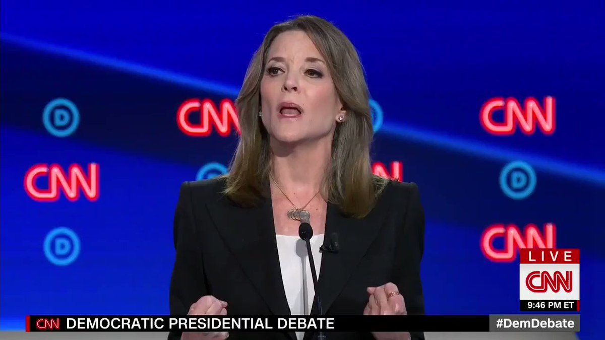 Marianne Williamson is not really sure what to do with her hands right now... #DemDebate