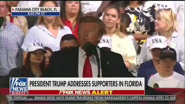"""Trump to a rally crowd in Florida in May: """"How do you stop these people"""" from crossing the border?  Rally attendee: """"Shoot them!""""  Crowd laughs. Trump smirks.   Trump: """"That's only in the panhandle you can get away with that stuff. Only in the panhandle."""""""