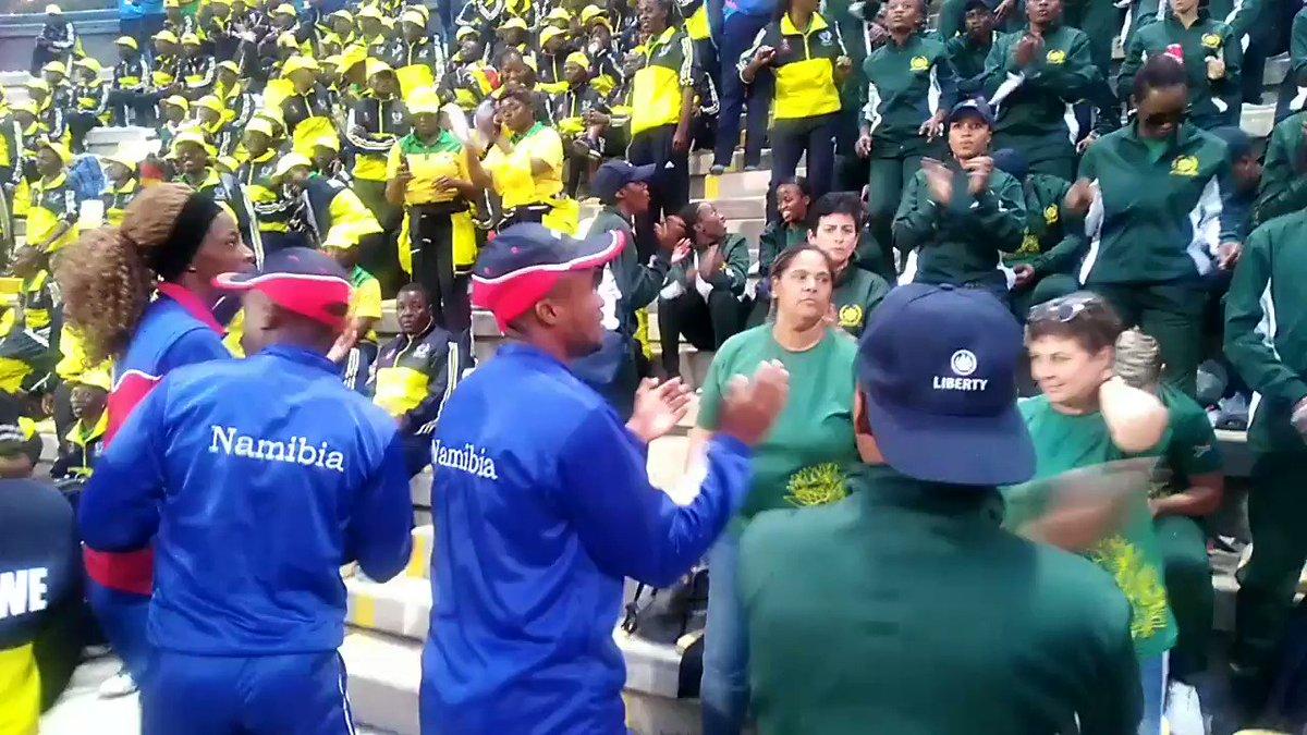 Zimbabwe, South Africa and Namibia SARPCCO teams cheering Angola and Zambia players in Angola on Saturday