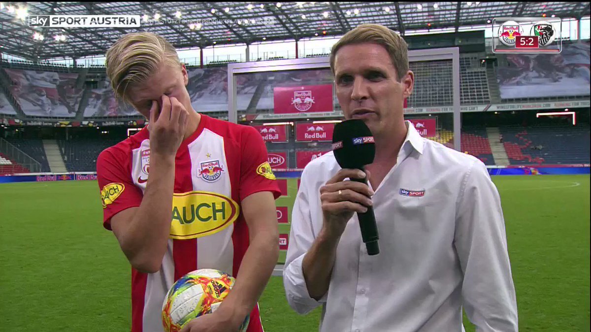 """""""I'm gonna take it home and let it be my girlfriend for the night""""Here's Erling Braut Håland's reaction following his hat-trick for Red Bull Salzburg yesterday..."""