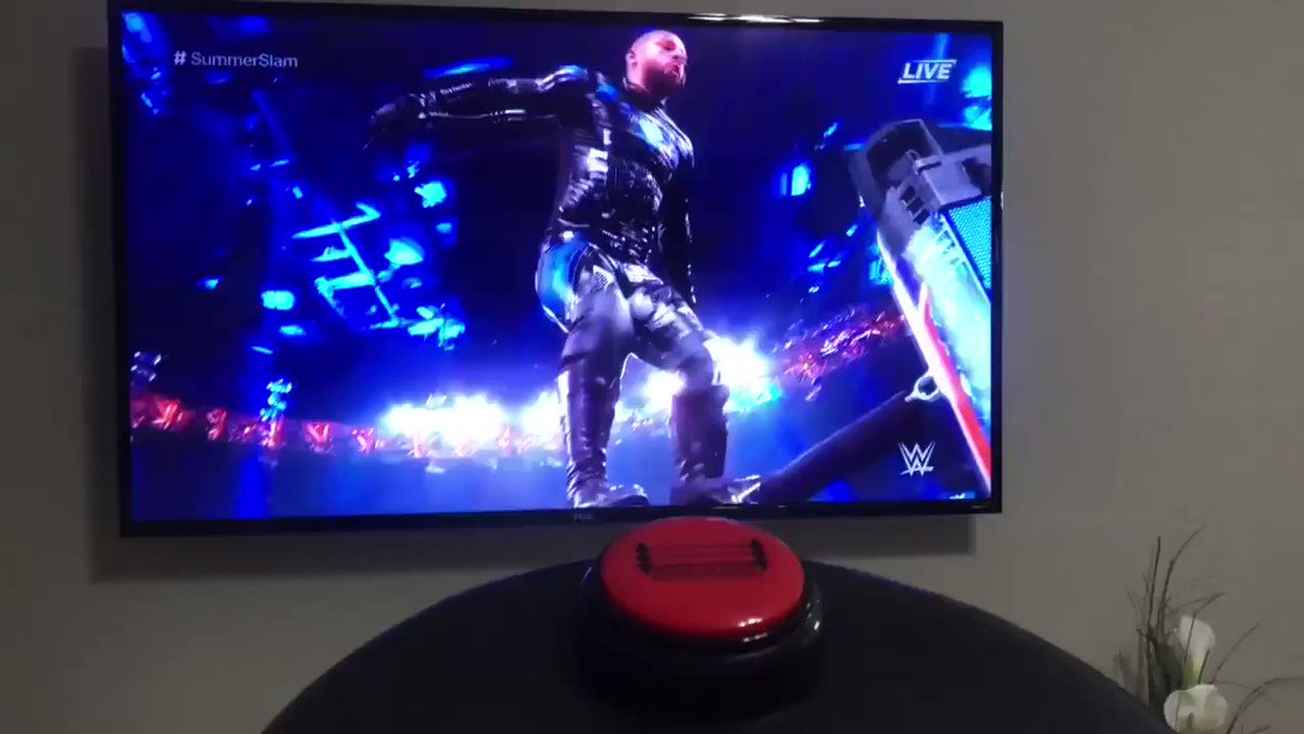 AJ Styles catches Ricochet in midair and hits a Styles Clash! #SummerSlamHOLY SH*T! HOLY SH*T!http://smarkbutton.comGet one now!#wwe #nxt #summerslam2019 #streetprofits #ricflair #theoc #SundayFunday #montezford #toronto