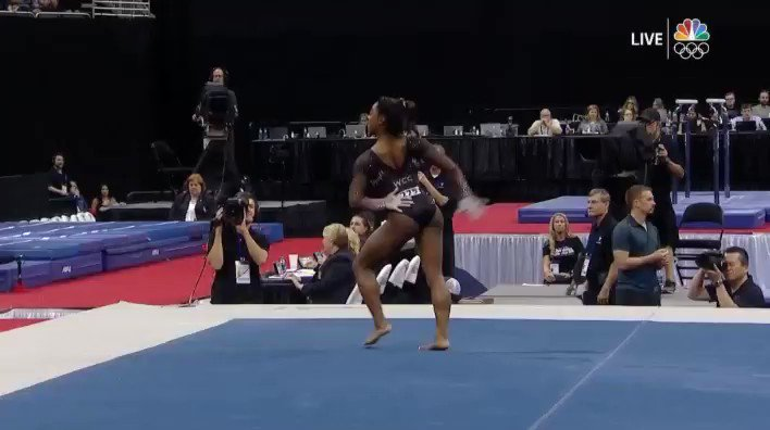 Simone Biles hits the unprecedented triple-double on floor exercise.