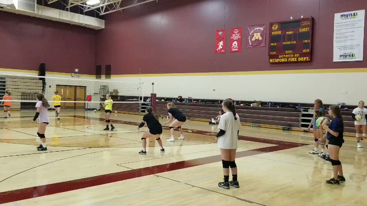 Day One of volleyball tryouts/practice at Medford High School. #mshsl