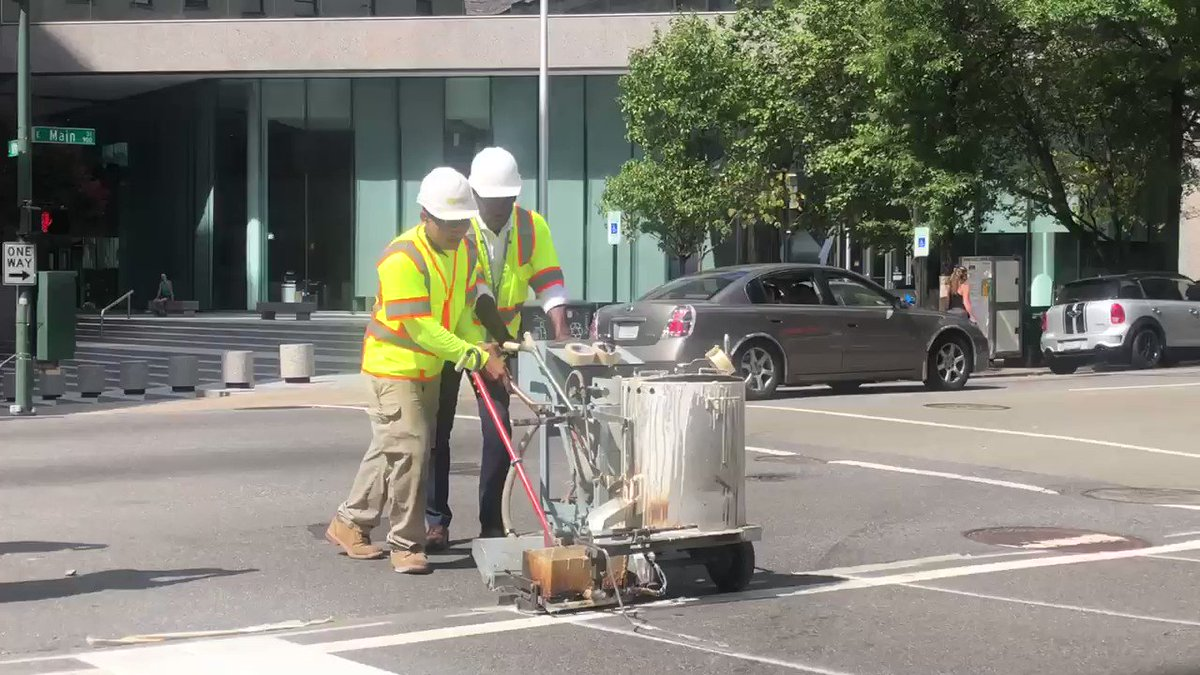 NOW: Mayor @LevarStoney participating in the installation of high visibility crosswalks along 10th and E. Main St. in #RVA. It's all part of the Vision Zero initiative to eliminate injuries and fatalities on the road. @CBS6