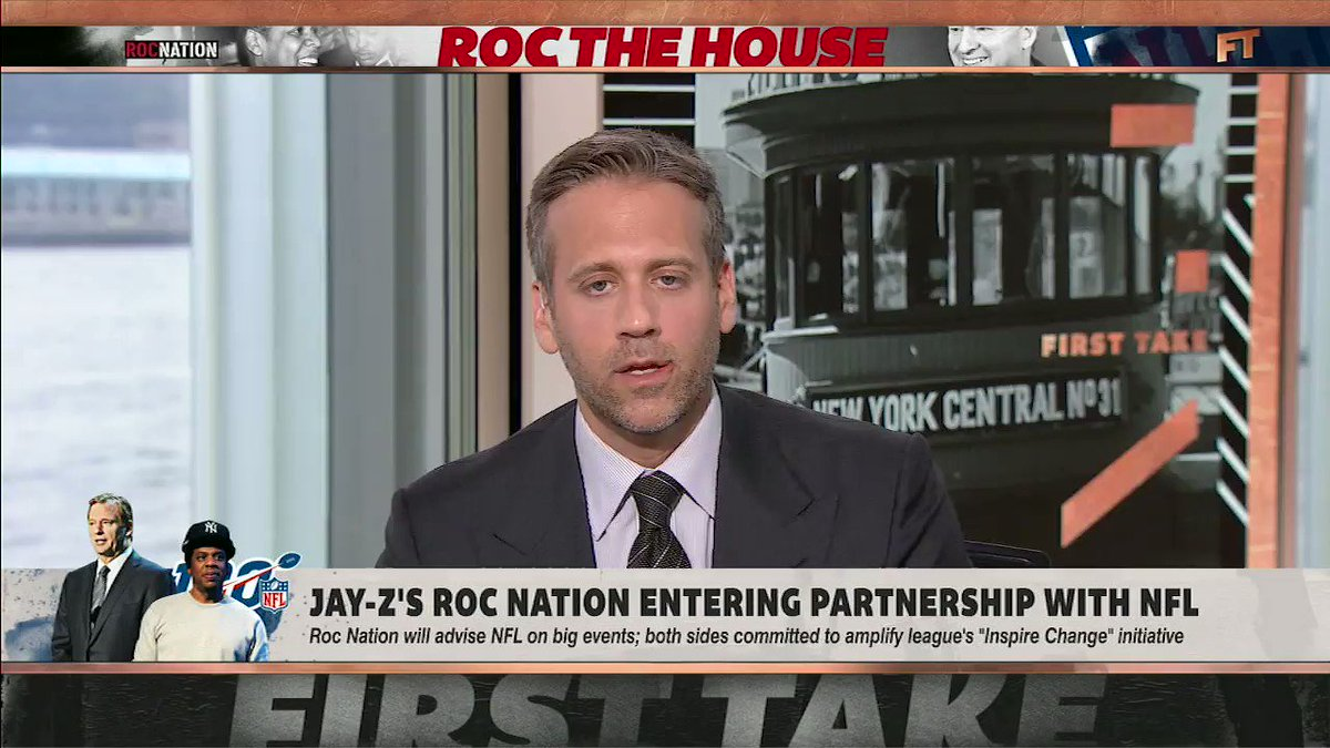 """""""I'm glad that there's progress in that respect. I also can't get over the fact that Colin Kaepernick, it's not just that he doesn't have a job, it's that he's not being given a look.""""—@maxkellerman reacts to Roc Nation's partnership with the NFL"""