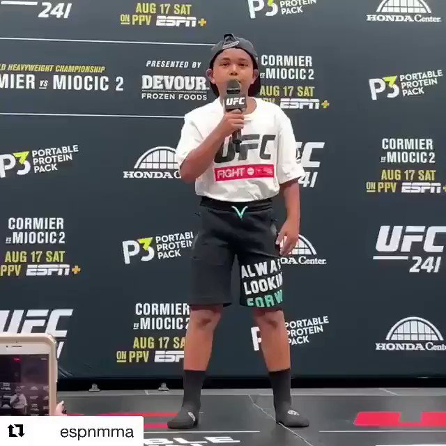 They asked me if little Daniel would want to introduce me, he was nervous and stood there for a bit but eventually he got it out. This is a moment I will cherish forever. God I love this kid! Great job buddy! #ufc241 #andstill