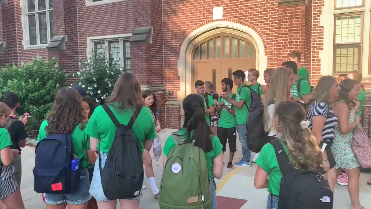 Senior mentors welcoming Freshmen to their first day at Glenbard West. Go West!
