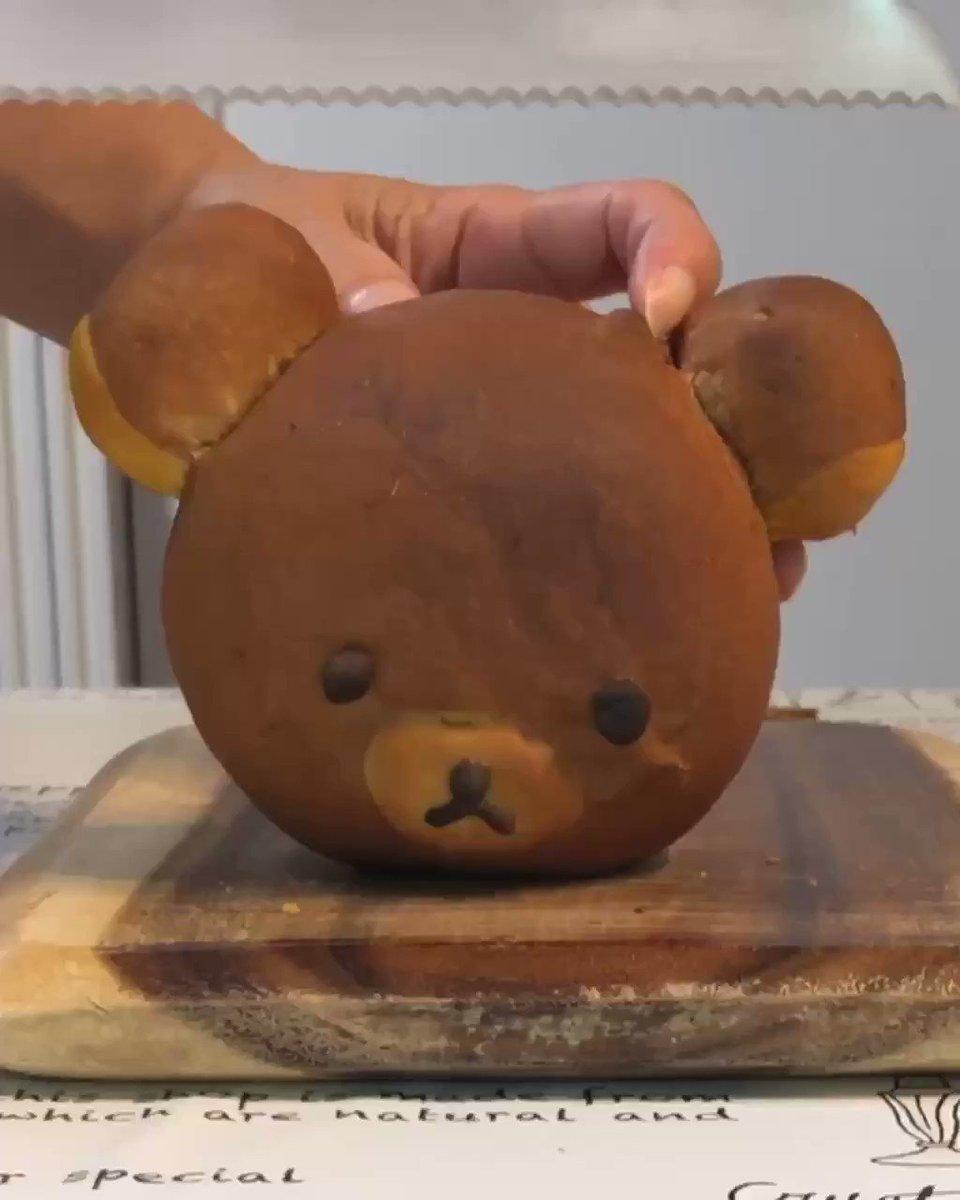 リラックマのパンを焼きました#リラックマ#丸イラストパン#手作りパン#rilakkuma#homemadebread #コリラックマ