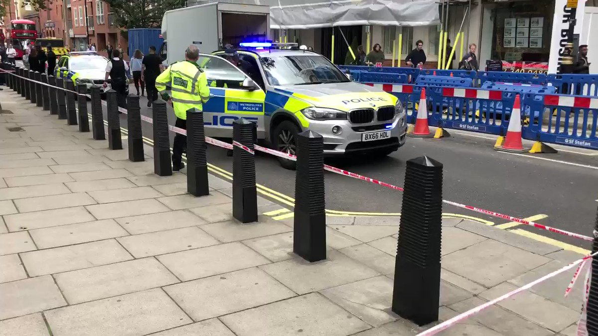 NEW: This is the scene at The Home Office where a man has been stabbed. He's been taken to hospital with what police are calling 'life threatening injuries'. One man has been arrested on suspicion of grievous bodily harm and taken to a police station.