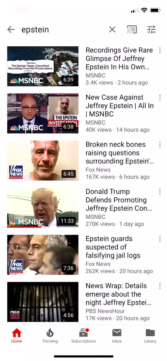 "YouTube only recommends mainstream media on #Epstein . There's no YOU in ""You Tube"" anymore, it's just like television."