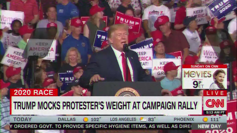 Trump to supporter at rally: That guys got a serious weight problem